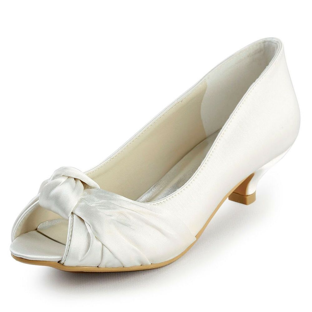 EP2045 White Ivory Women Peep Toe Low Heel Satin Wedding