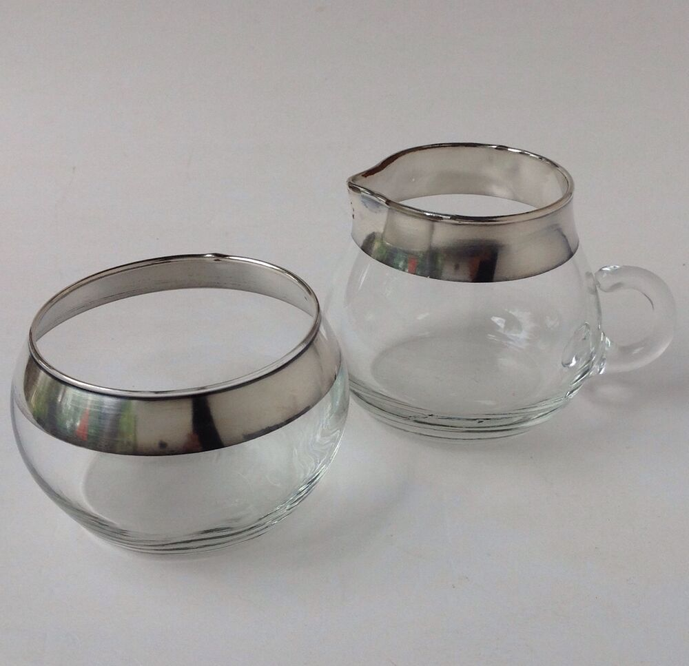 Dorothy thorpe silver band glass sugar bowl creamer set