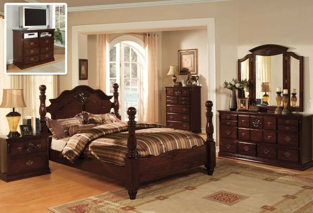 Classic italian style queen king 4 pc set bedroom antique furnitur tucson cm7571 ebay Tuscan style bedroom furniture