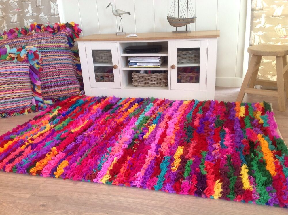 Fab Multi Colour Indian Cotton Chindi Tufted Shaggy Rag