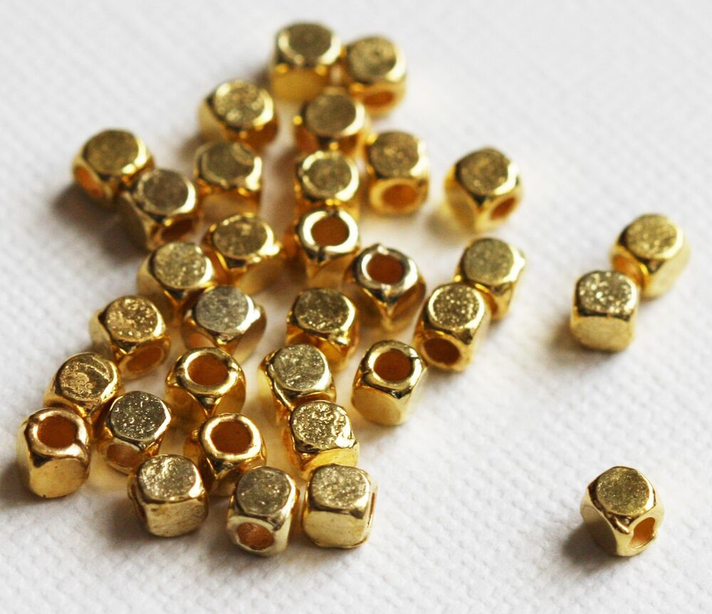 100 gold plated square cube 4mm ebay