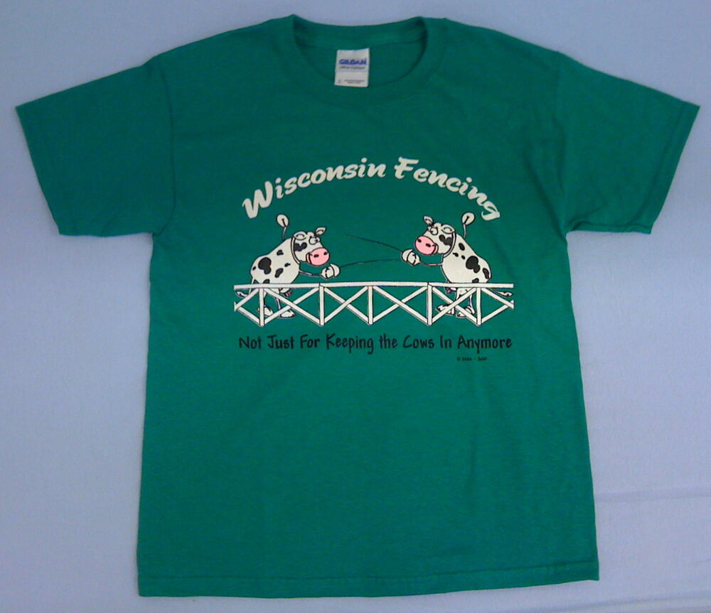 Fun Wisconsin Fencing Cows T Shirt Youth Large Ebay
