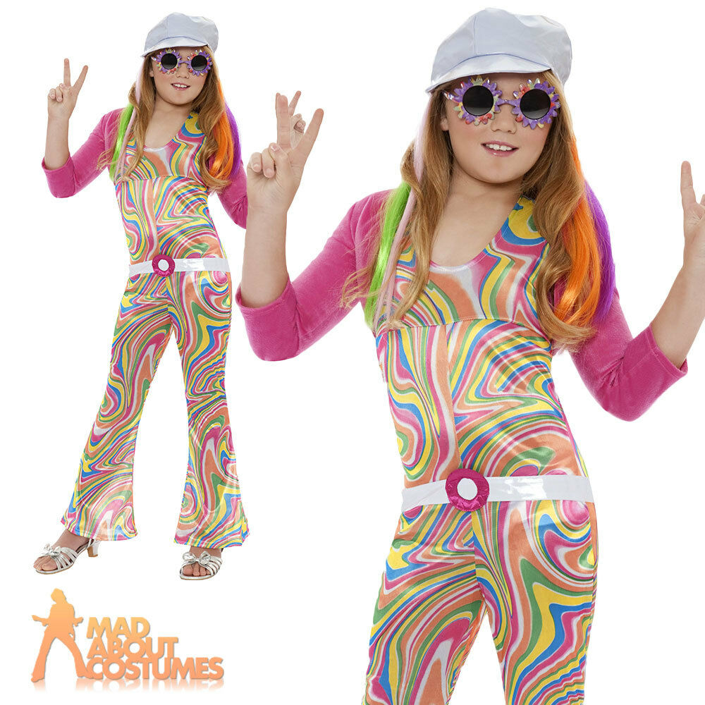 Girls Hippy Costume Child Groovy Glam 60s 70s Disco Hippie ...