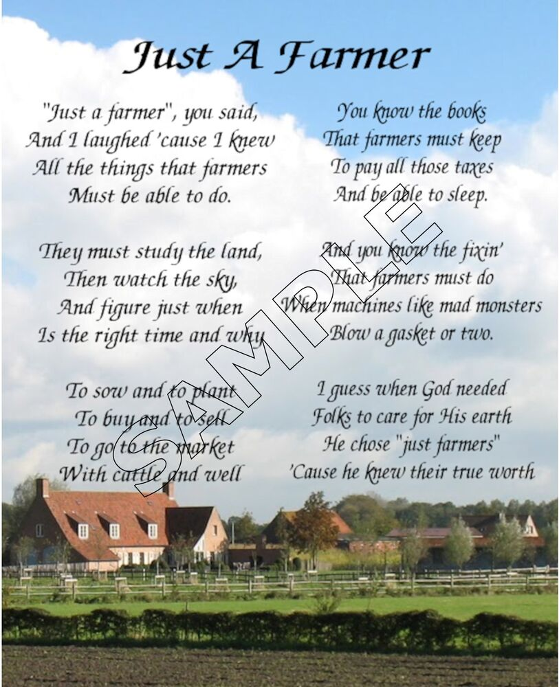 Farmers Day Quotes: JUST A FARMER ART POEM MEMORY LOVE GIFT PRINT