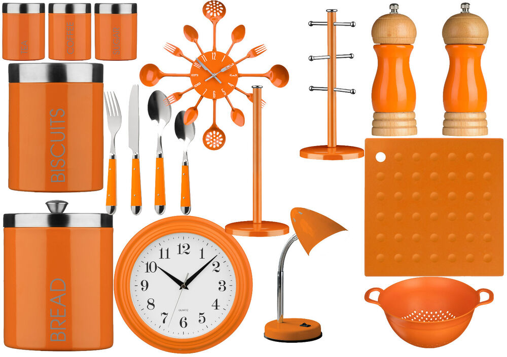 Orange Kitchen Storage Tea, Coffee,Sugar ,Cutlery Set ...