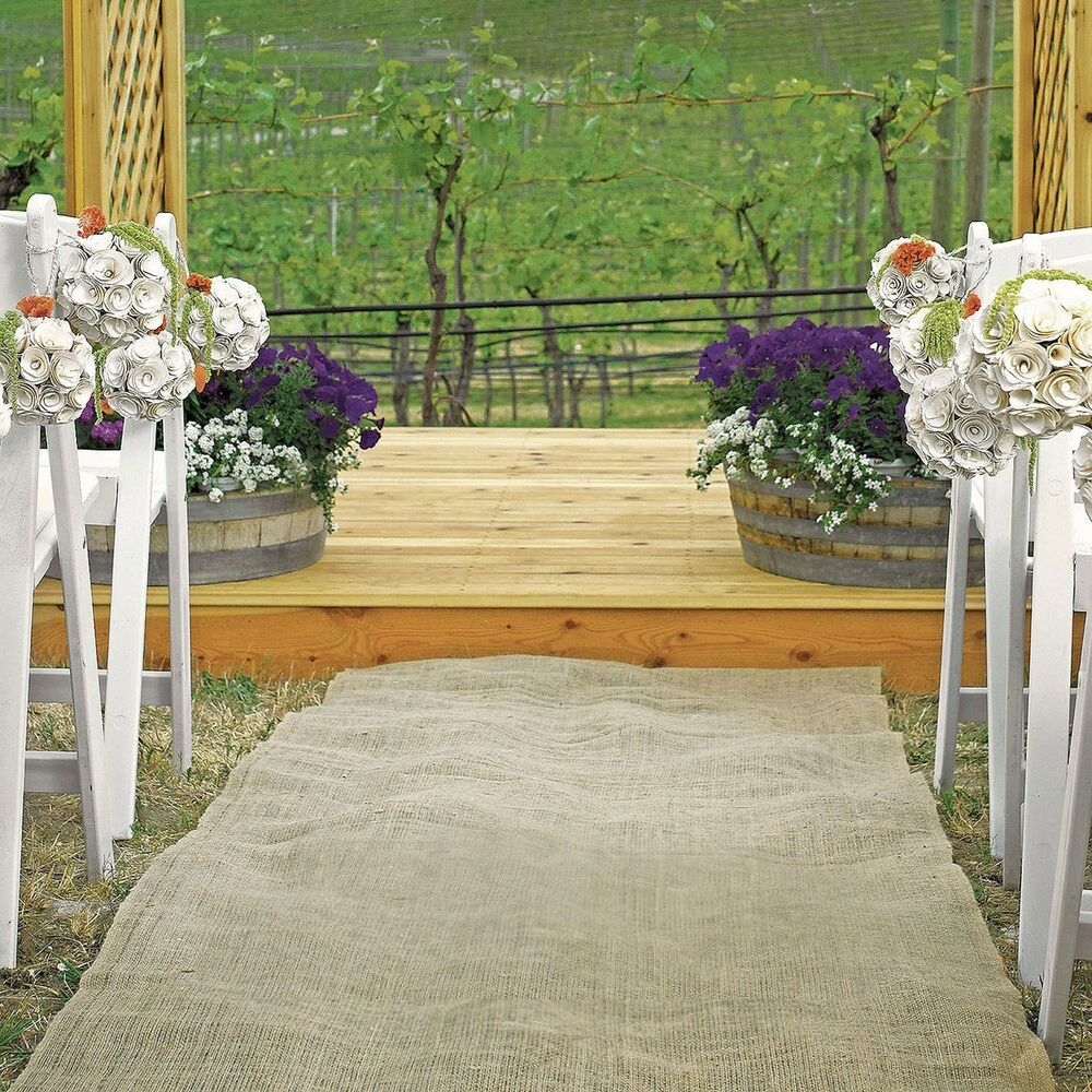"Burlap Wedding Altar: 25ft × 40"" Burlap Aisle Runner 100% Natural Jute Wedding"