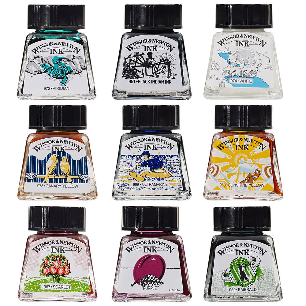 Winsor Newton Drawing Ink 14ml Bottle 26 Colours