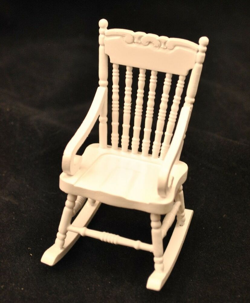 Rocking Chair White W Arms T5061 Miniature Dollhouse Furniture Wooden Rocker Ebay