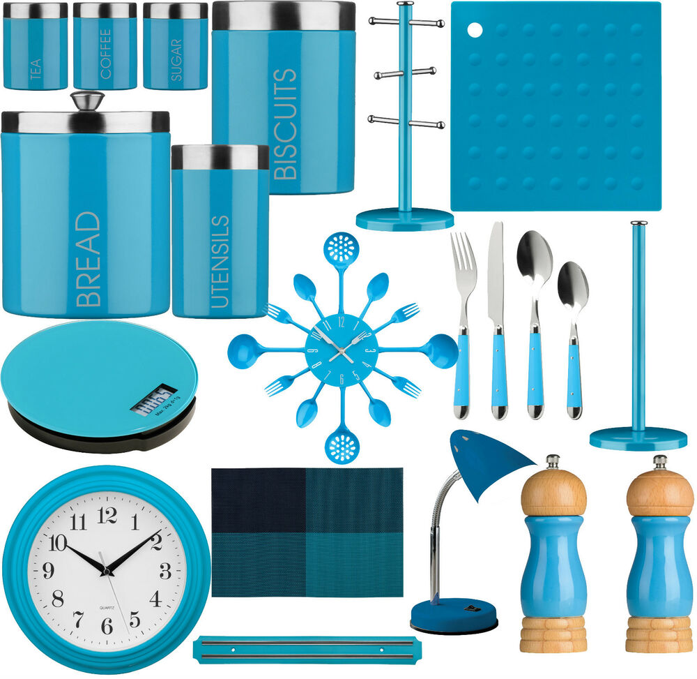 Blue Kitchen Accessories: Blue Kitchen Storage Tea, Coffee,Sugar ,Cutlery Set, Clock