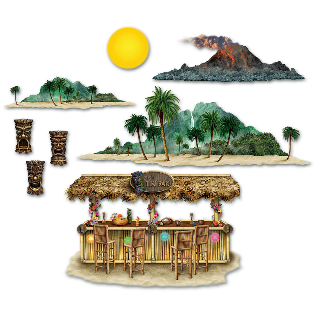 Luau tiki hawaiian party wall decoration tiki bar for Tiki decorations home