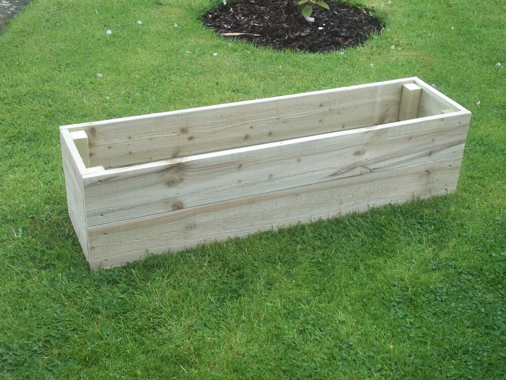 Wooden garden raised beds herb planter edging ebay for Raised border edging