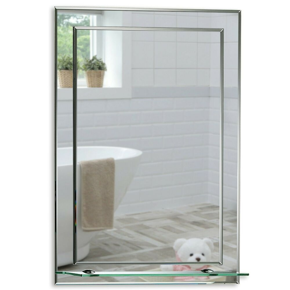 Bathroom mirror on mirror elegant rectangular with shelf for Mirror 0 zfs