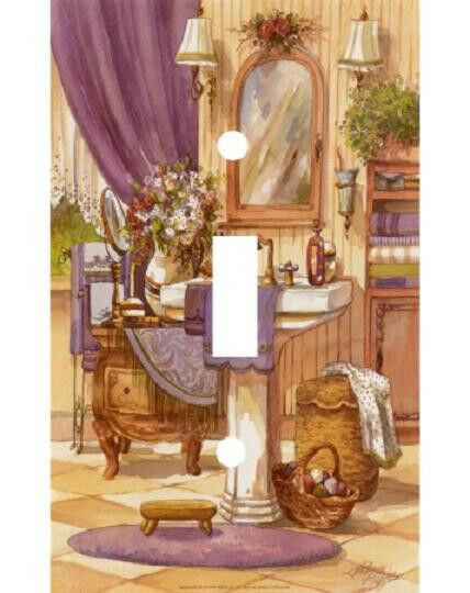 Personalized purple victorian bathroom light switch plate for Light purple bathroom accessories