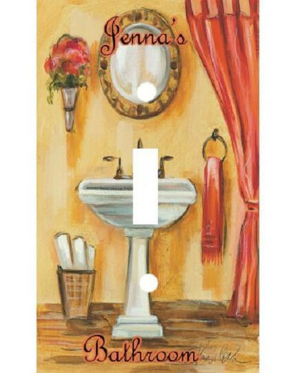 Personalized Tuscan Bathroom Decor Light Switch Plate