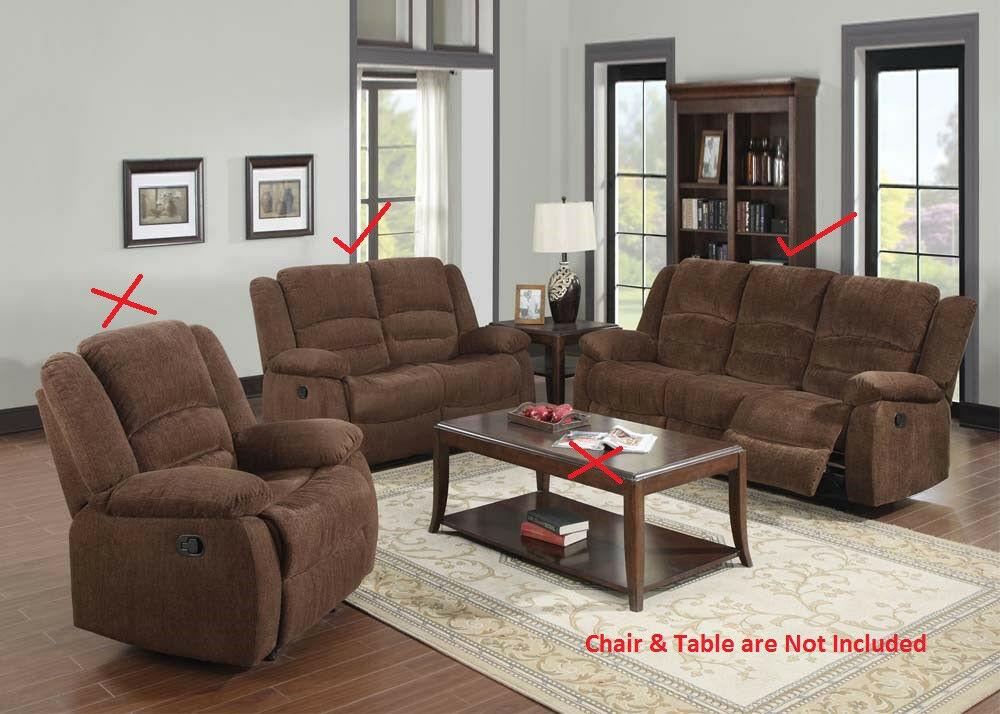 Bailey modern dark brown chenille motion sofa set 2pcs for Fabric reclining living room sets