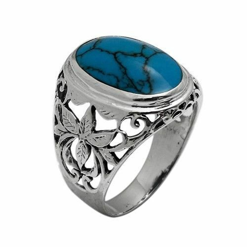 925 Sterling Silver 23mm Oval Blue Turquoise Stone Mens ... Silver Rings For Men With Blue Stone