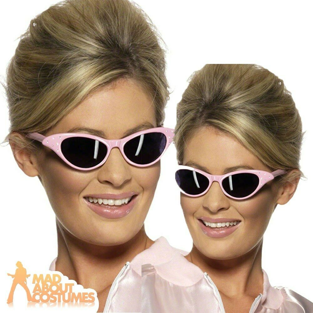 pink ladies sunglasses grease lady frenchy rizzo sandy womens fancy dress new ebay. Black Bedroom Furniture Sets. Home Design Ideas