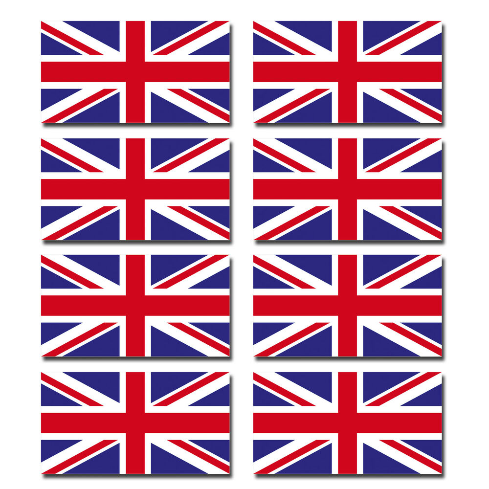 8 X Glossy Vinyl Stickers Union Jack Uk Small Flag