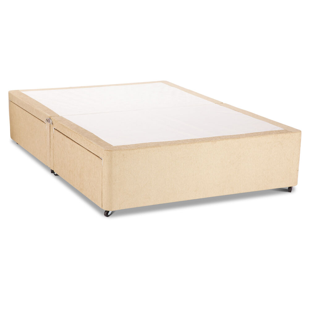 Cream chenille divan base divan bed base with underbed for Single divan bed with storage drawers