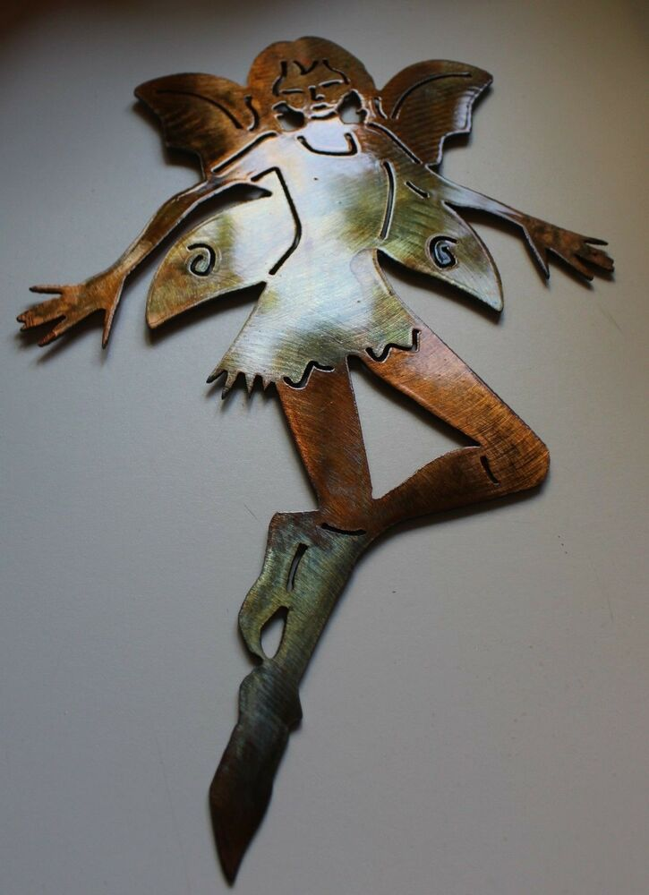 Small garden fairy metal wall art decor ebay for Small wall art decor