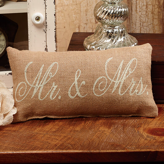 Mr And Mrs Stenciled Burlap Pillow Ebay
