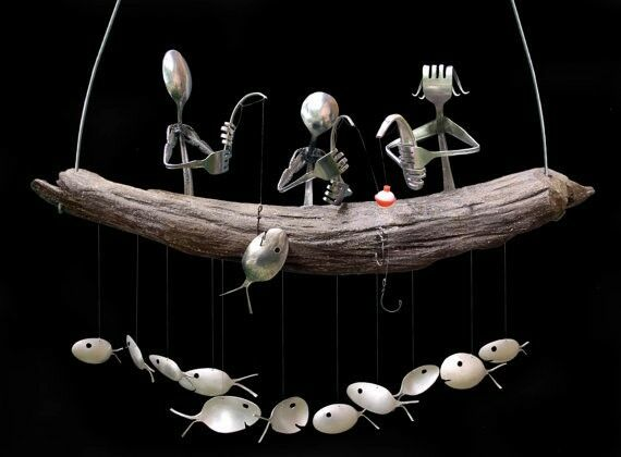 Family of 3 fishing trip and spoon fish wind chime ebay for Fish wind chimes