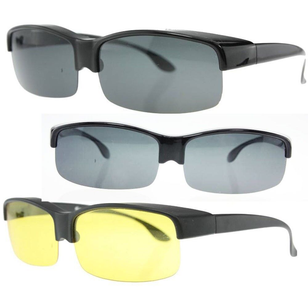 Eyeglass Frames To Fit My Lenses : Night driving Polarized wraparound Glasses Sunglasses fit ...
