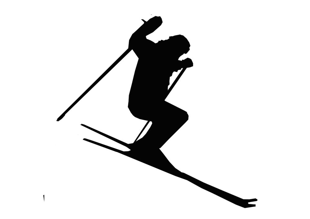 Novelty Skier Silhouette 12 Stand Up Edible Image Cake
