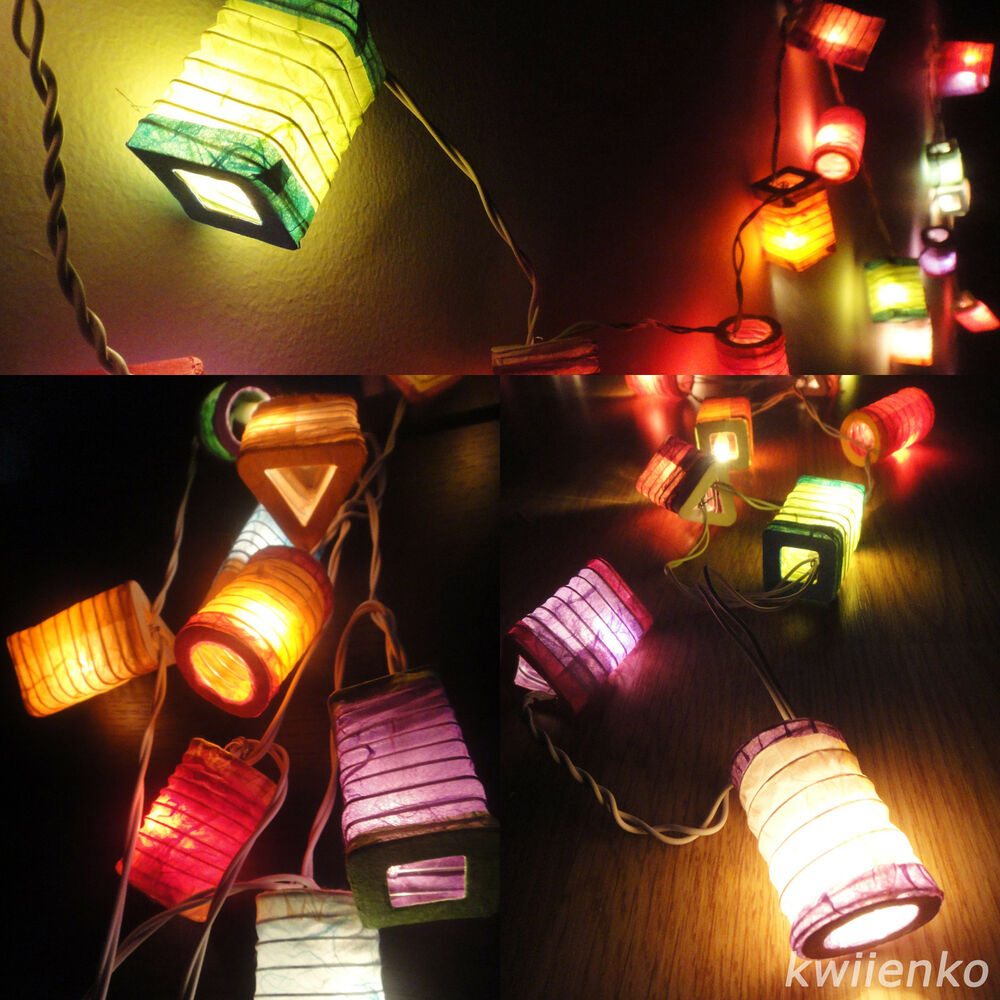 CHINESE PAPER LANTERN STRING 20 Mix Multi Color Paper Fairy Lights Patio Party eBay