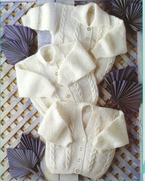 Knitting Pattern- 4 Ply Baby Cardigans- Cable design- fits Premature 12-24&qu...