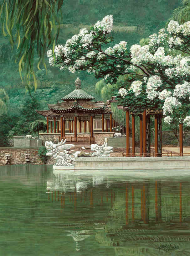 Oriental garden wall mural 6 39 wide by 8 39 high ebay for Asian wallpaper mural