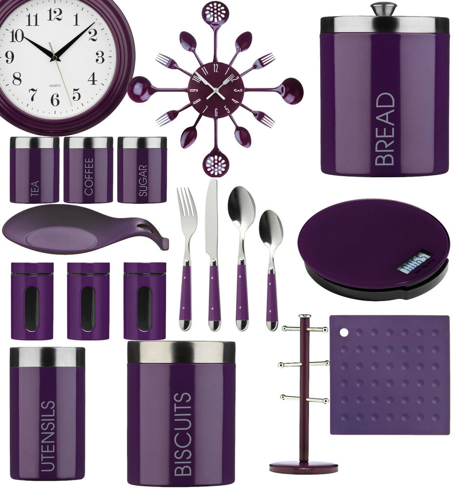 Purple kitchen storage tea coffee sugar cutlery set for Accessories for the home