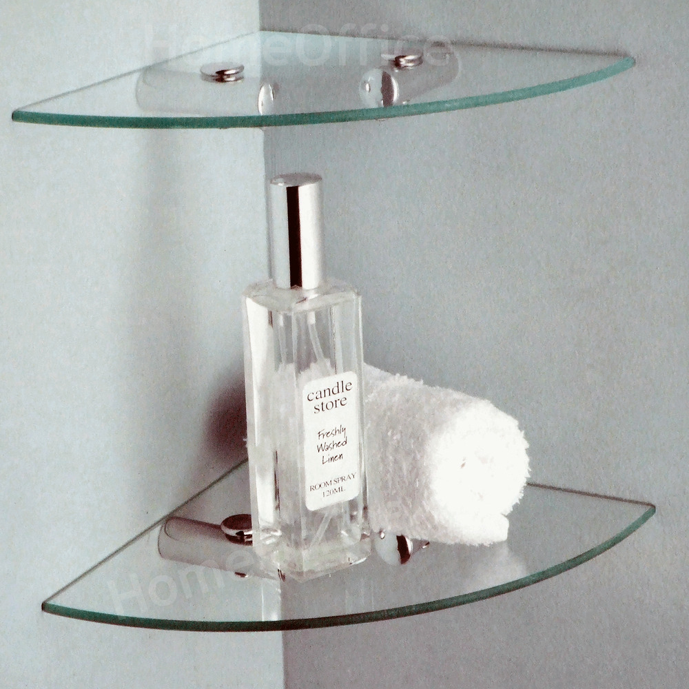 2 tier glass corner shelves ideal bathroom etc shelf - Bathroom glass corner shelves shower ...
