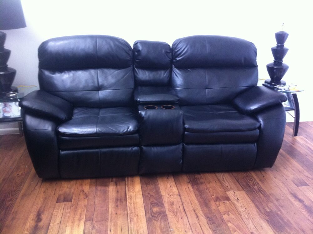 Two Double Reclining Loveseats Black Only Ebay