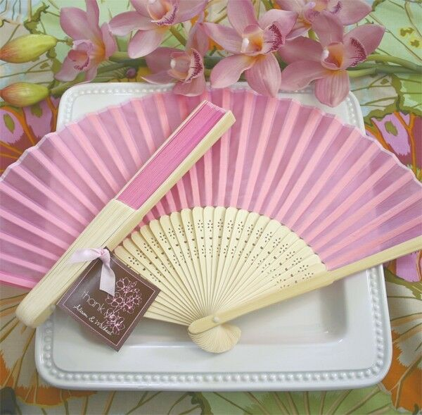 50 PINK Silk Hand Fans Spring Summer BEACH Wedding Favor Place Holder