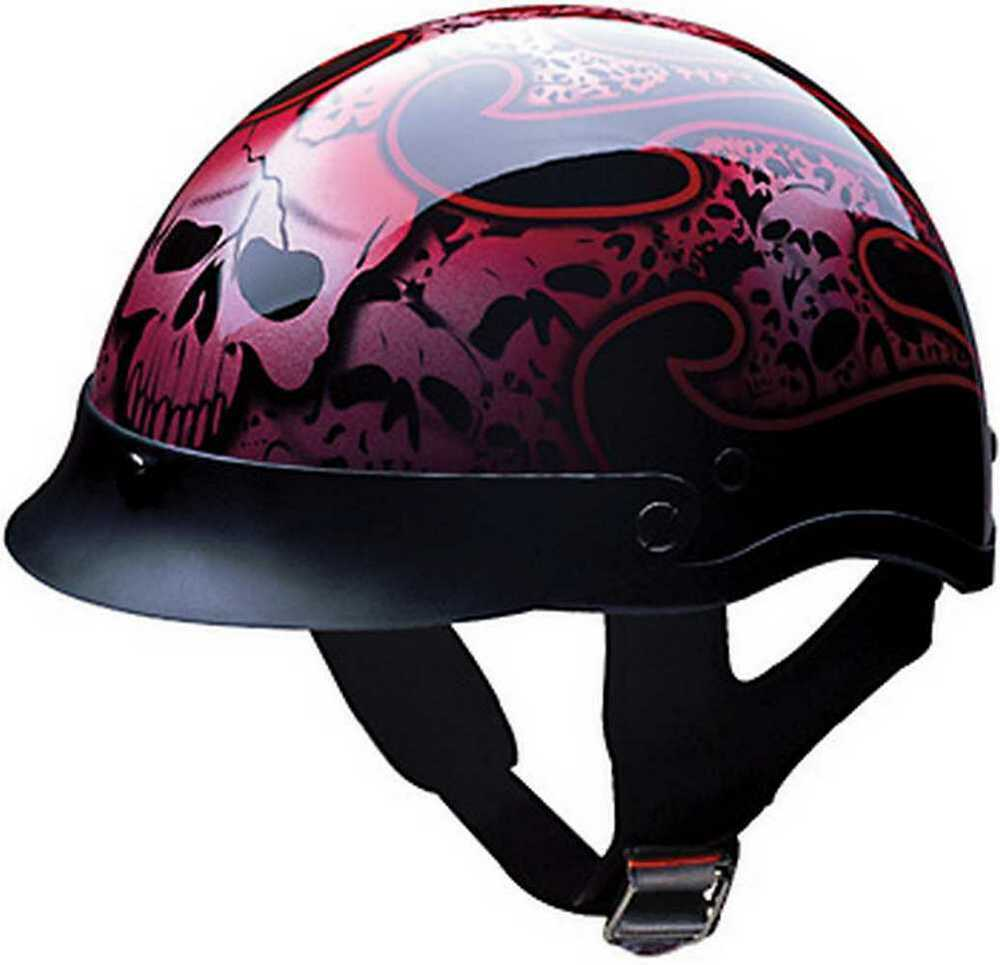 HCI Red Tribal Skull Pattern, ABS Shell Half Motorcycle ...