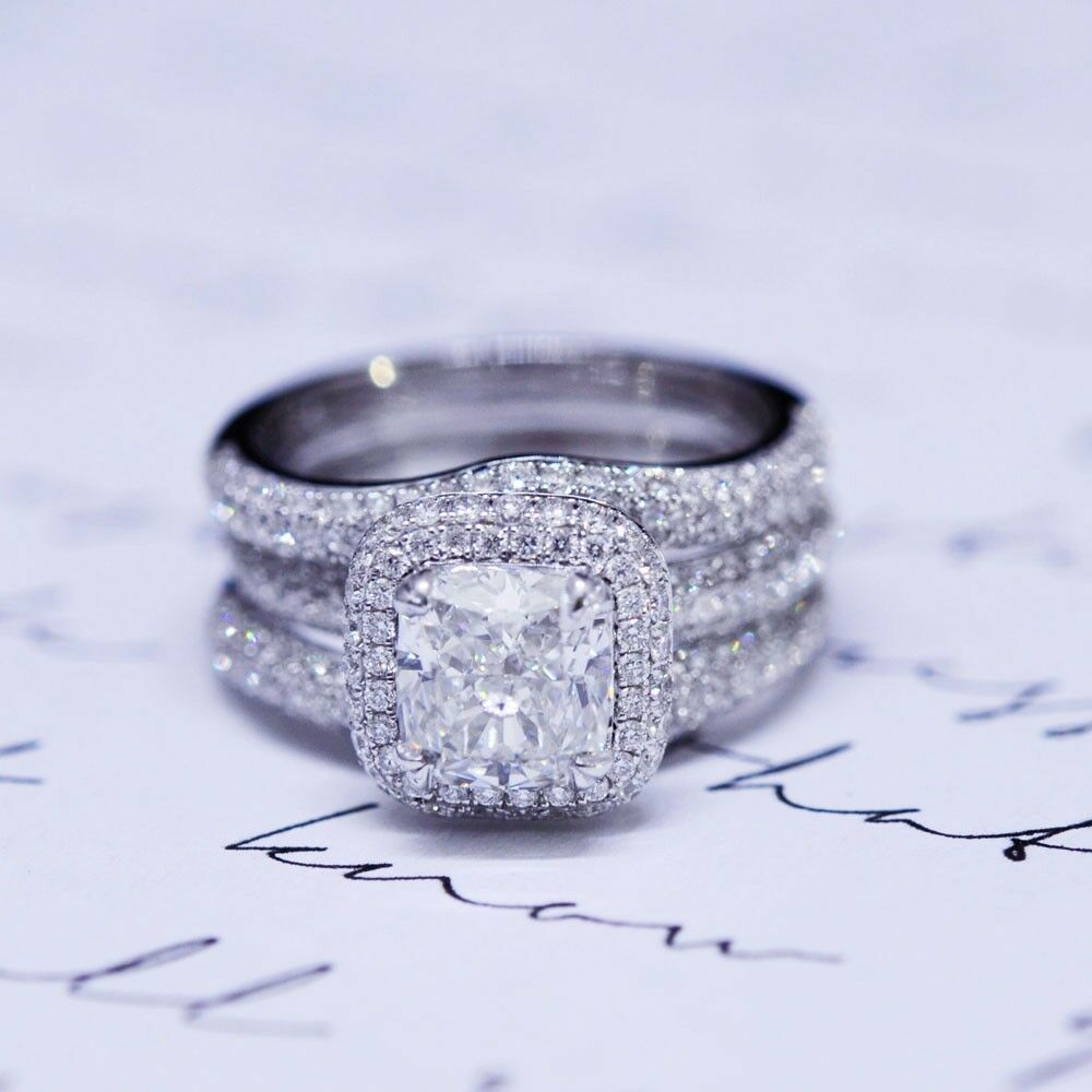 2.64 Ct. Cushion Cut Micro Pave Halo Diamond Engagement ...
