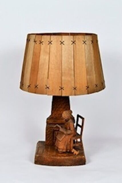Handmade Wooden Lamps : Handcrafted wooden lamp with wood shade ebay