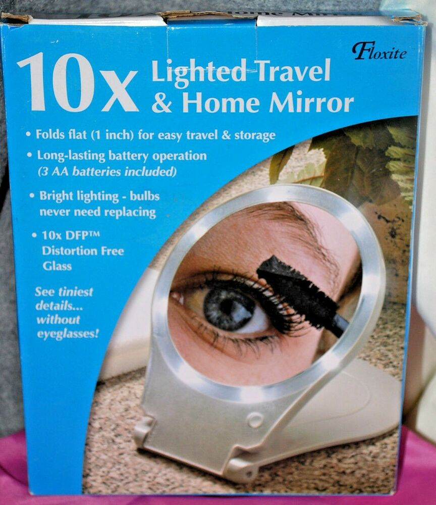 Floxite 10x Lighted Travel Make Up Mirror Portable Folding