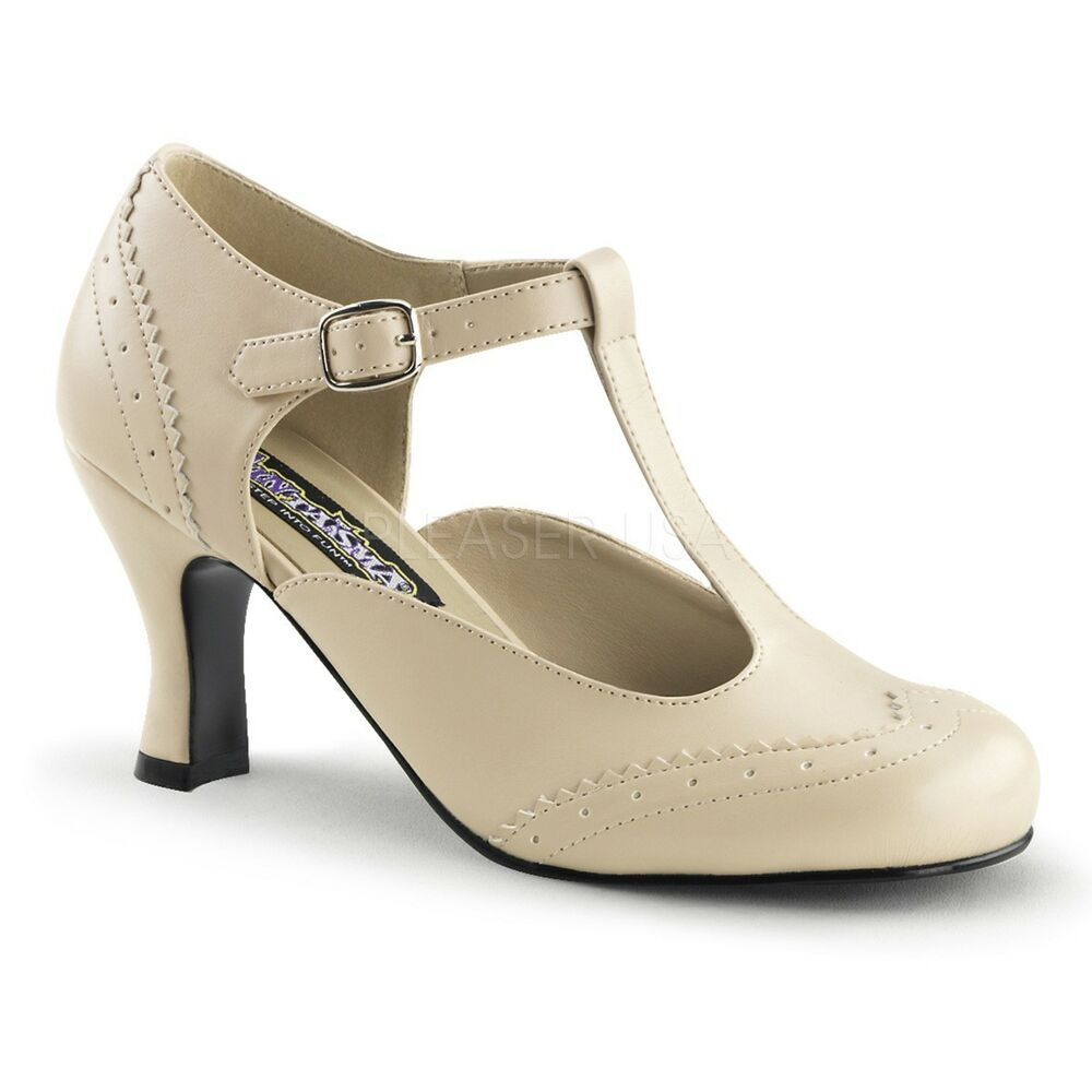 Ladies Leather Nude Shoes With Strap And Small Heel