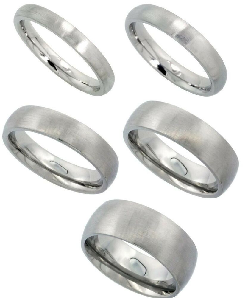 Wedding Band Stainless Steel 8mm: Stainless Steel Matte Finish Dome Wedding Band, Thumb