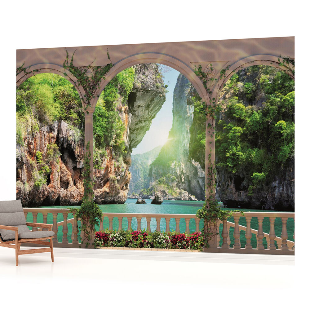 Arches beach sea photo wallpaper wall mural room for Cn mural designs