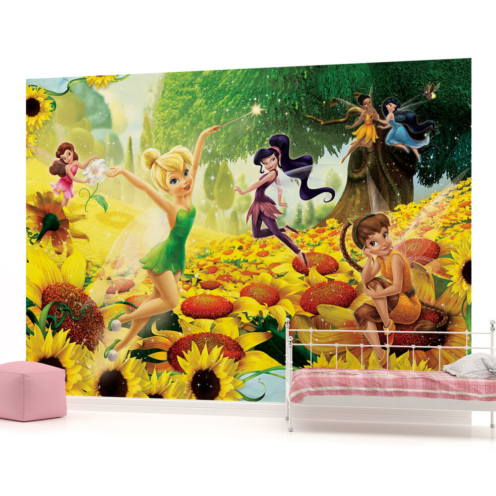 Disney fairies girls kids photo wallpaper wall mural room for Disney tinkerbell mural