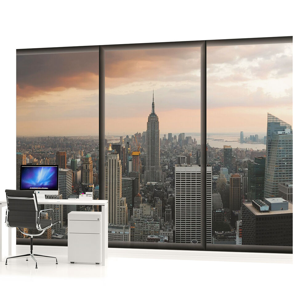New york city urban photo wallpaper wall mural room for City scape wall mural