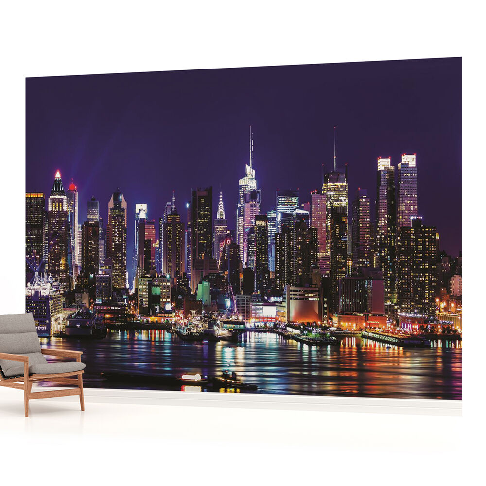 City skyline murals the image kid has it for Cityscape wall mural