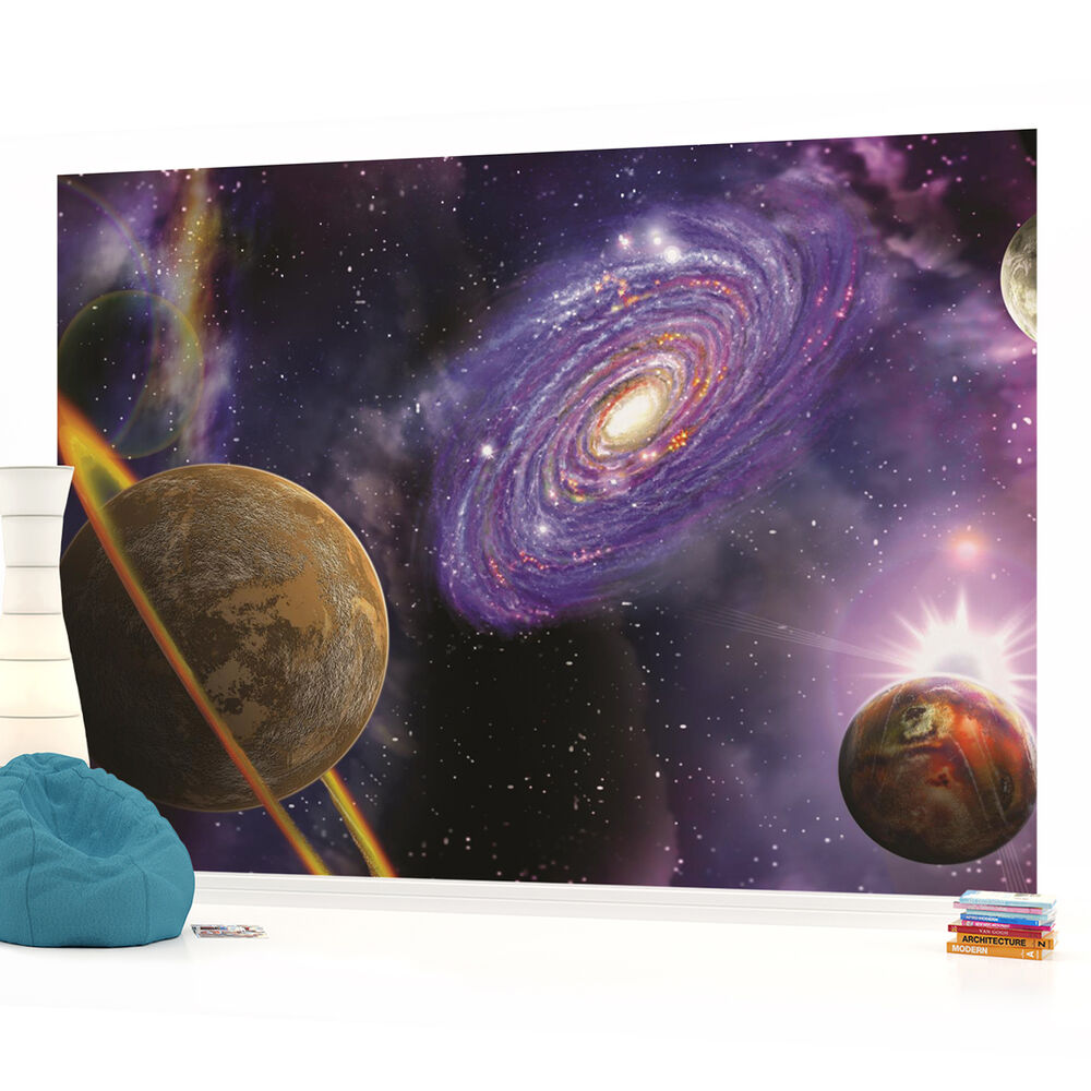 Wall mural photo wallpaper 309pp space galaxy planets ebay for Universe wallpaper for walls