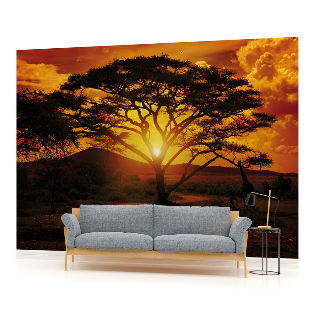 African sunset landscape photo wallpaper wall mural room for Mural wallpaper