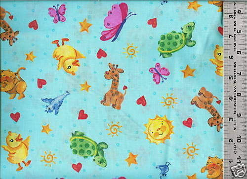 Daisy kingdom cute baby animal toss print 100 cotton for Cute baby fabric prints