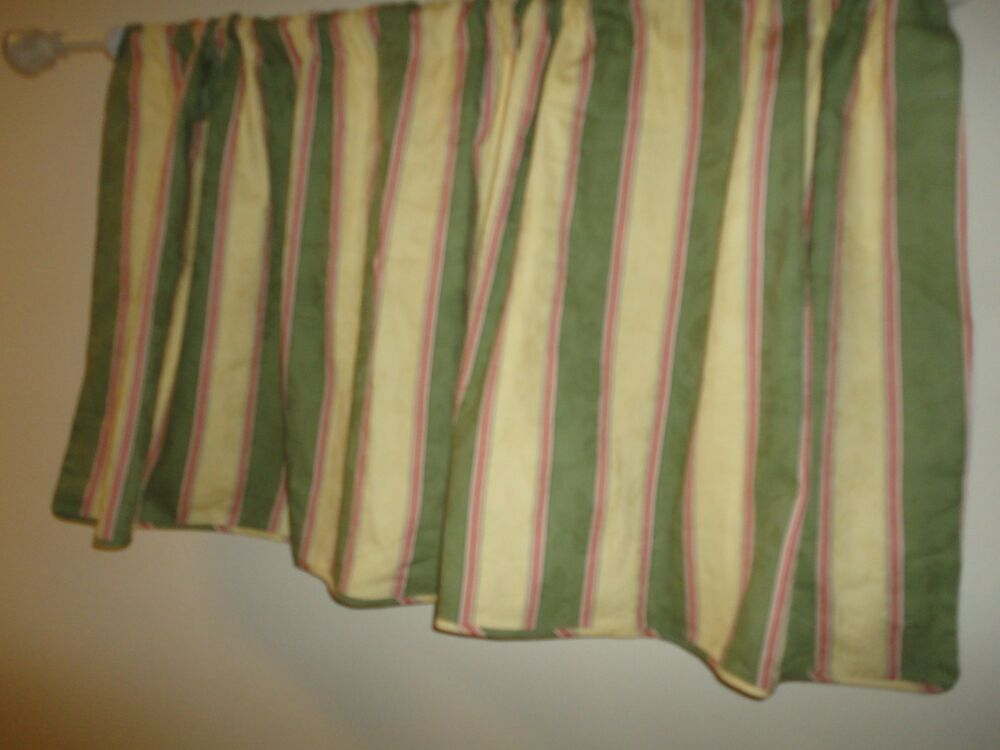 ... Valance Damask Floral Gold Green Crimson Stripe 76 x 28 | eBay