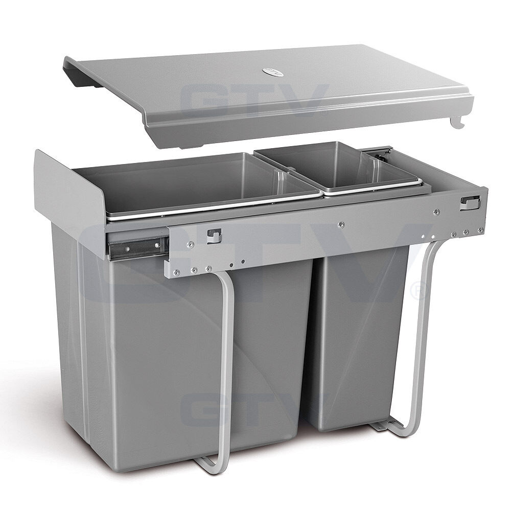 Recycle bin pull out kitchen waste bin 300mm unit 30l with soft close slides ebay - Ikea pull out trash bin ...